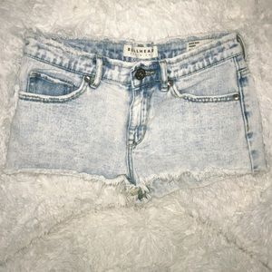 Pacsun acid-wash denim shorts!